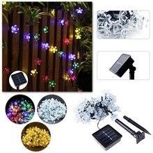 New 50 LEDS 7M Peach Ledertek Flower Solar Lamp Power LED String Fairy Lights Garlands Garden Christmas Decor For Outdoor