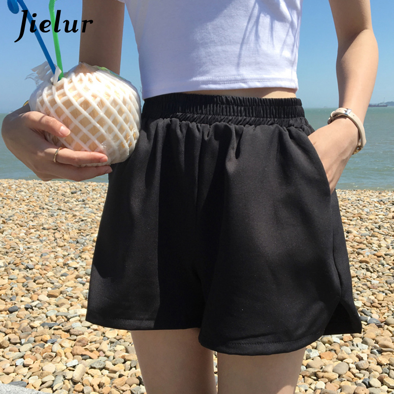 Jielur Shorts Black Femme Elastic-Waist Summer Ladies Basic Chic High Solid Damskie Spodenki