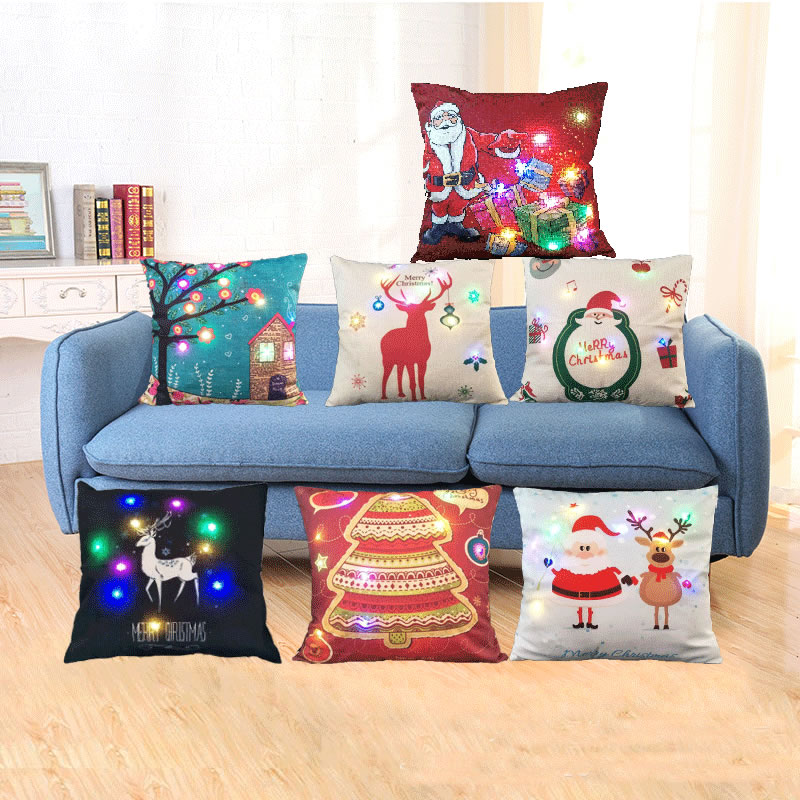 45x45cm LED Lights Christmas Pillow Cover Square Pillowcase Case Xmas Luminescent Elk Flax Throw Case New Year Home Decor F
