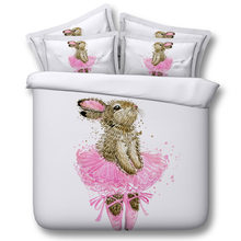Rabbit ballet Digital print Bedding Set Quilt Cover Design Bed Set Bohemian a Mini Van Bedclothes 3pcs JF135(China)