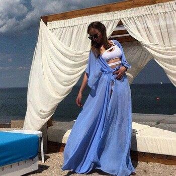 Summer Women Swimsuit Bikini Cover Up Sexy Beach Cover Ups Chiffon Long Dress Elegant Solid Beach Bathing Suit tunic kaftan 6