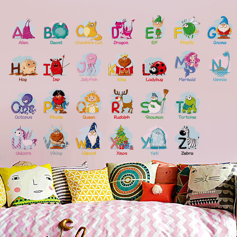 Us 2 85 25 Off Animal Letters Wall Decals Cartoon Alphabet Removable Home Decor Kids Room Abc Wall Art Stickers For Kids Room 45 60cm In Wall