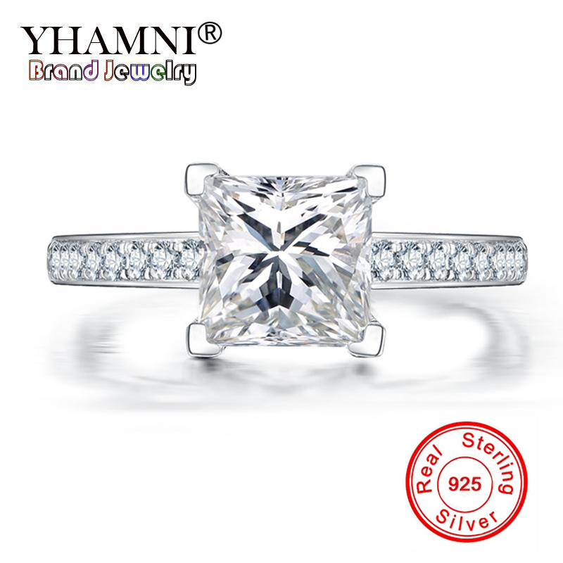 YHAMNI Fashion Princess Solid 925 Sterling Silver Rings Wedding Engagement Acessories CZ Zircon Jewelry Ring for Women JZR027 ...