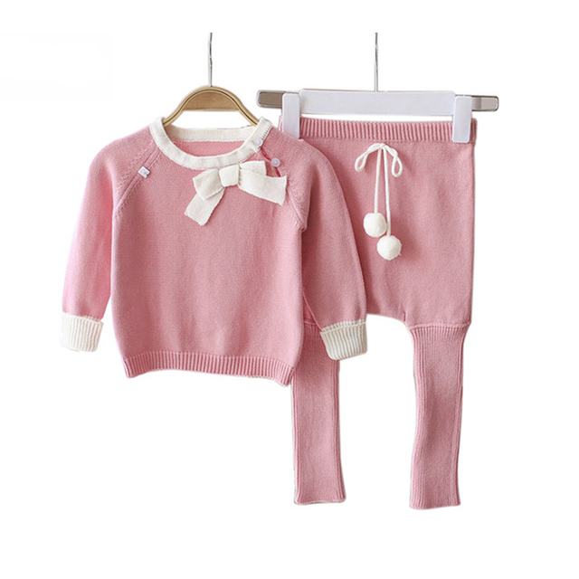 75025824571c Aliexpress.com   Buy Baby Girls Princess Pink Sweater Clothing Sets ...