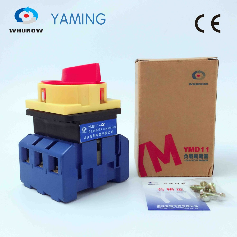 Yaming Load break isolator switch with padlock panel 100A 3 Phases 2 position on-off Changeover rotary switch YMD11-100A load circuit breaker switch ac ui 660v ith 100a on off 3 poles 3 phases 3no 2 position universal rotary cam changeover switch