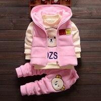 Fall Winter Baby Infant Kid 3 Pcs Set Boys Girls Waistcoat + Fleece Tops + Pant Children Clothing Thick Velvet Sweater Suit G792