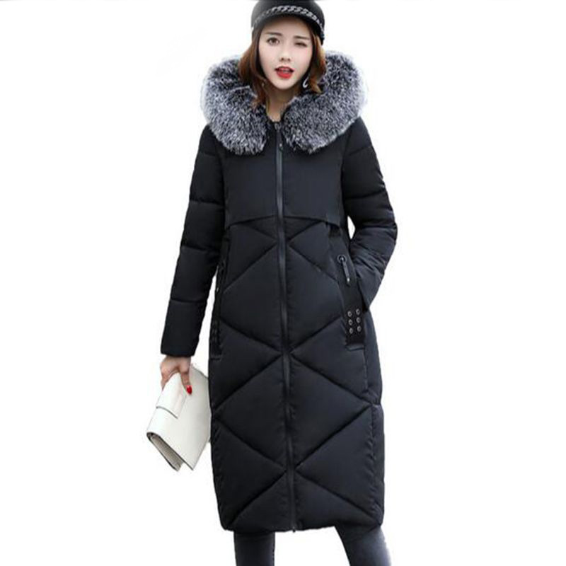 Women Long Down cotton Jacket 2017 new Winter Female Hooded fashion big Collar Down cotton coat thicker Overcoat Parka QH0450 fashion european winter jacket women big fur collar hooded coat female medium long down parka outwear loose overcoat hn156