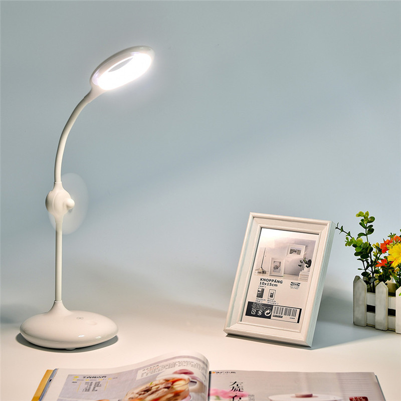 summer new USB LED Table Lamp Eye Protection with Mini Fan book light Reading Desk lamp bedside reading night light tablelamp white rotating rechargeable led talbe lamp usb micro charging eye protection night light dimmerable bedsides luminaria de mesa