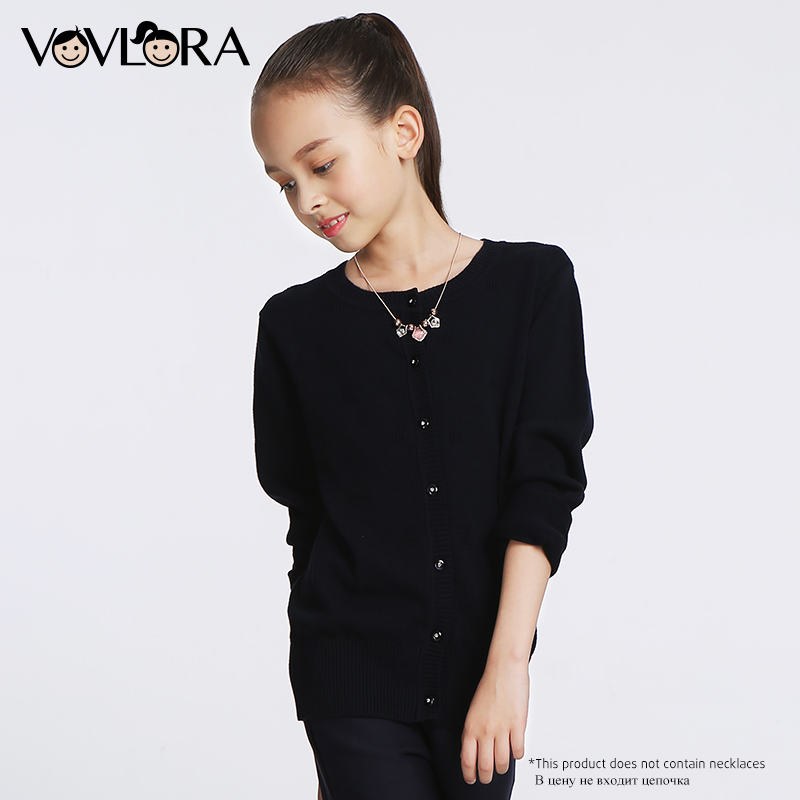 Girls Sweaters Kids O-neck Cotton Long sleeve Lace school uniform sweaters for girls Autumn&winter children clothes 2017 VOVLORA