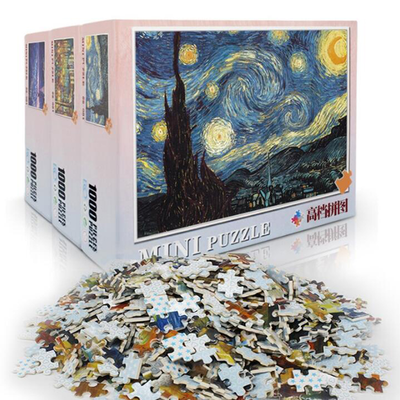 Mini 1000 Pieces Jigsaw Picture Puzzles Paper Assembling Puzzles Toys For Adults Children Kids Games Educational Toys