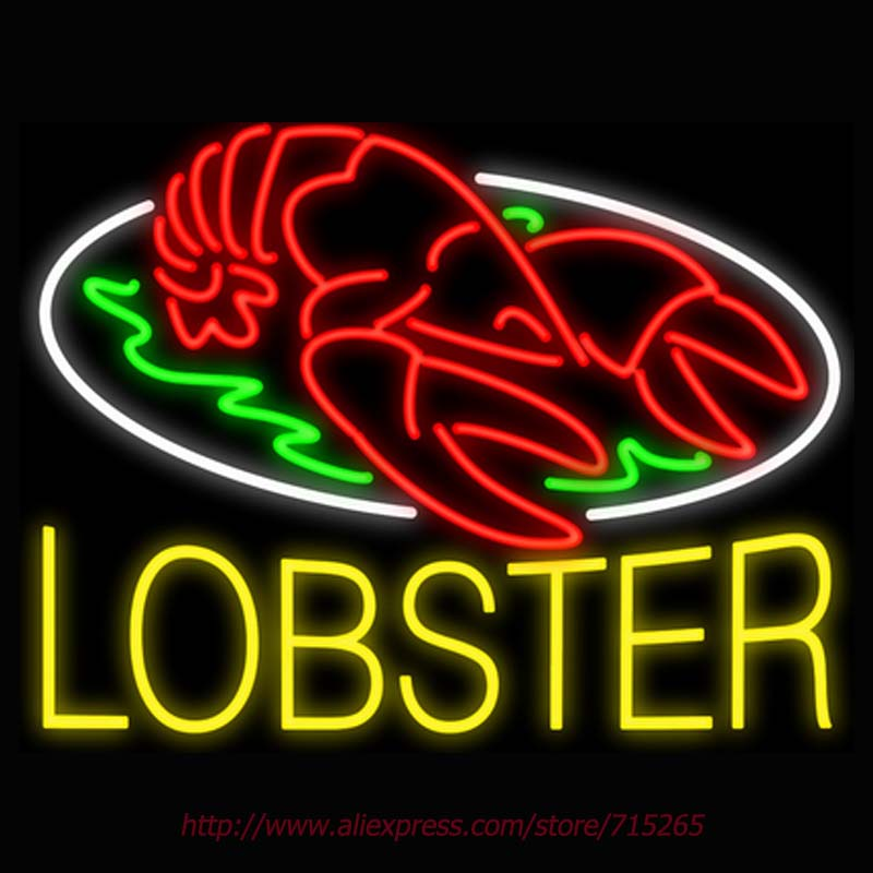 Lobster Neon Sign Signage Board Neon Bulbs Real GlassTube Handcrafted Decorate Window Shop Business Display Super Bright 31x24