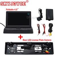 SKYJOYCE 4.3 Inch TFT LCD Car Monitor Parking Assistance + RU European License Plate Frame With 2 radar sensors Rear View Camera