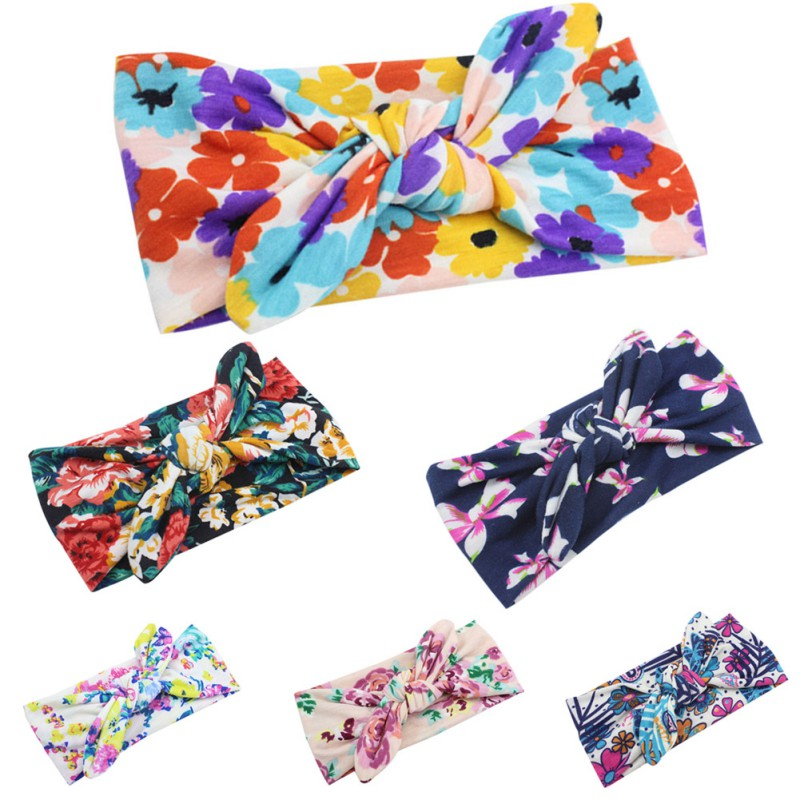 6pcs/pack Infants Girls Hair Accessories Headband Head Wraps Floral Printing Newborn Headband Turban Headband