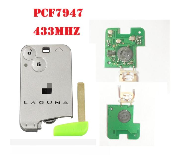 2 Buttons Smart Remote Key PCF7947 Chip 433Mhz for Renault Laguna Espace Smart Card Remote with logo(China)