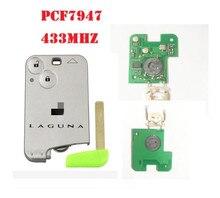 2 кнопки Smart Remote Key PCF7947 чип 433 мГц для Renault Laguna Espace смарт-карта дистанционный с логотипом