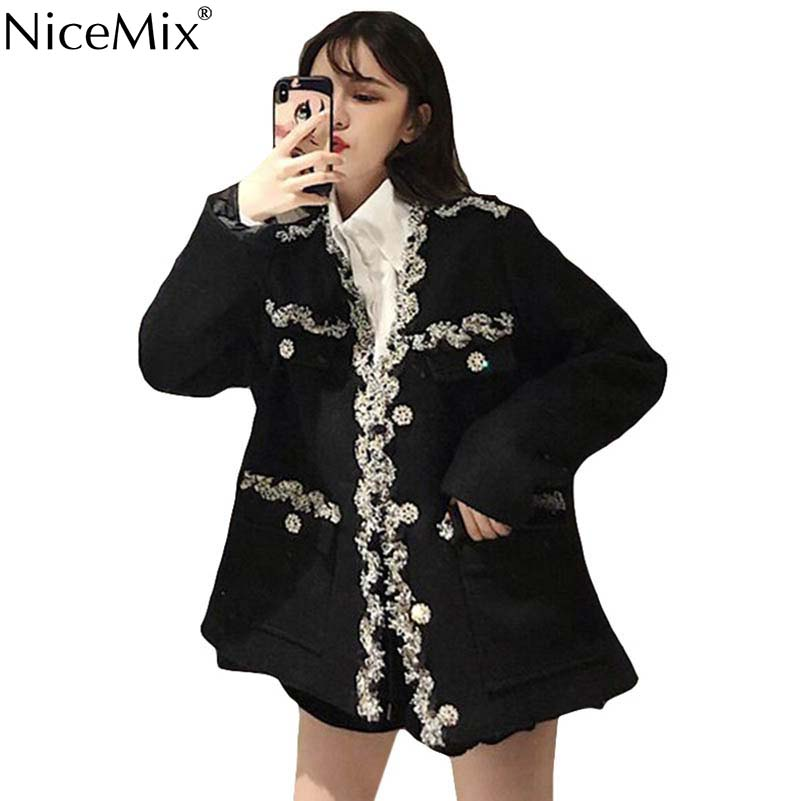 NiceMix 2019 Autumn Black Jacket Women Outwear Loose Oversize Jackets High Street Coats Korean Streetwear Jassen Vrouwen
