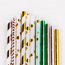 25Pcs Bronzing Stripe Environmental Party Cocktail  Creative Paper Straw For Cake Decoration Disposable Degradable Pipette