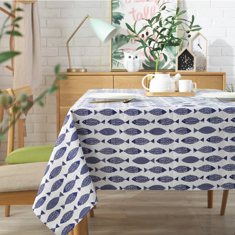 Thicken Cotton Linen Tablecloth Simple Blue Fish Print Cover Japanese Style Washable Table Cloth for Wedding Tea Table