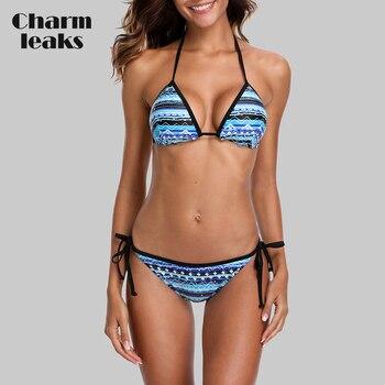 Charmleaks Women Sexy Bikini Set Vintage Print Swimwear Side Bandage Strappy Swimsuit Bathing Suit Padded Push Up Beachwear padded strappy tied bikini set