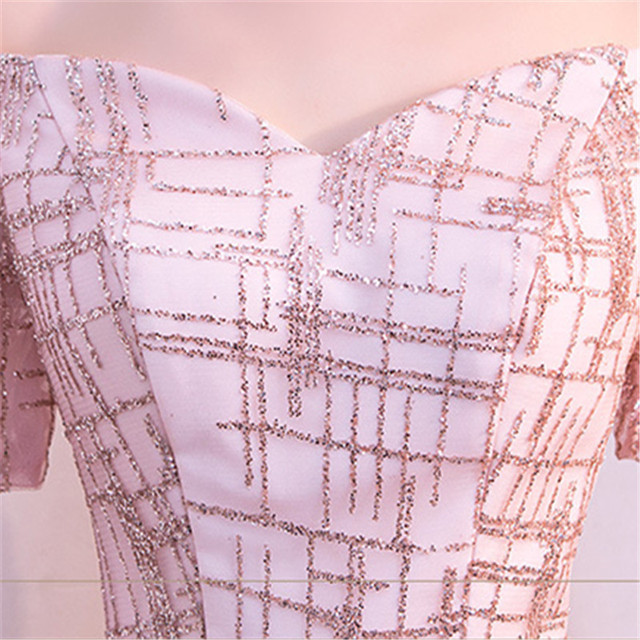 It's Yiiya Luxury Boat Neck Off The Shoulder Bling Sequined Lace Up Evening Dresses Backless Floor Length Party Gown MX011 4