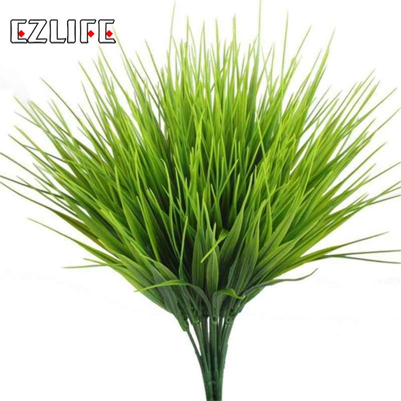 Искусственная трава искусственный для уличных растений поддельные Пластик зелени кустарников трава пшеницы для бонсай цветок украшение д...
