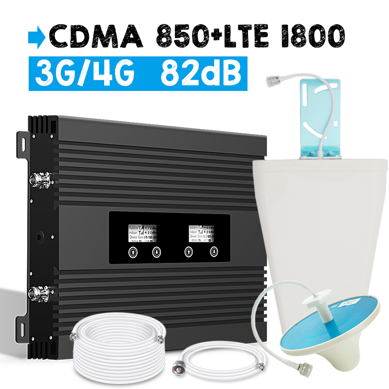 2018 Walokcon 3G CDMA 850 4G LTE DCS 1800 Dual Band Signal Repeater B3 4G LTE Amplifier 82dB Power Gain LCD Display Booster Set
