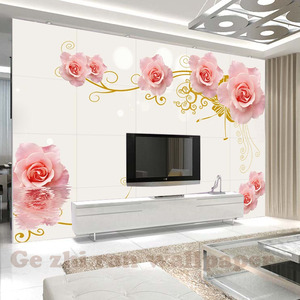 Free Shiping Custom 3D Mural WallPapers 3D Stereoscopic Rose Pattern Wallpaper Living Room Bedroom TV Background Wallpaper Home Decor