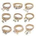 3 Accesorios de Joyería de Moda Elegante Dados Unids/set Mariposa Búho Corazón Amistad Regalos Rhinestone Pulseras Del Encanto Para Las Mujeres