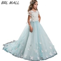 Hot Sale Blue Flower Girl Dresses With Butterfly Short Sleeves Kids First Communion Dresses Ball Gown