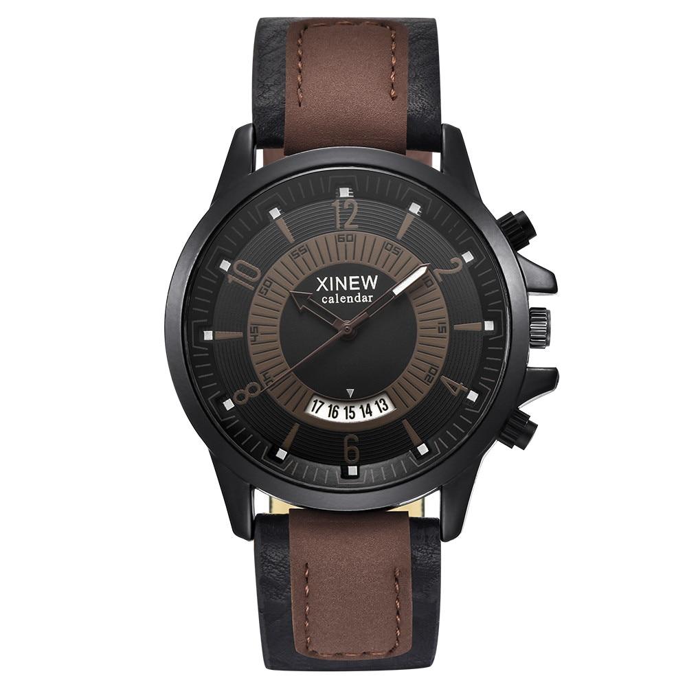 купить Luxury Brand Leather Watches Men Watch Military Sports Quartz Wristwatches Fashion Watches High Quality Clock relogio masculino по цене 298.14 рублей