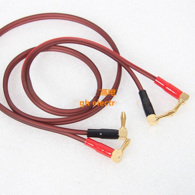 2pcs/lot The sound amplifier audio cable horn corner turn head banana insert light brown 1 meter long faulkner the sound