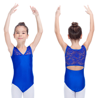 Royal Blue Shiny Lycra Lace Tank Leotards Ladies And Girls Ballet Dance Gymnastics Bodysuit Full Sizes