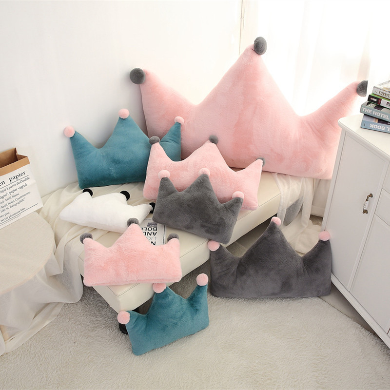 Ins Boys Girls Crown Princess Heart Moon Bed Cushion Removable Children's Room Decoration Sofa Pillow Baby Soothe Toy Take Photo