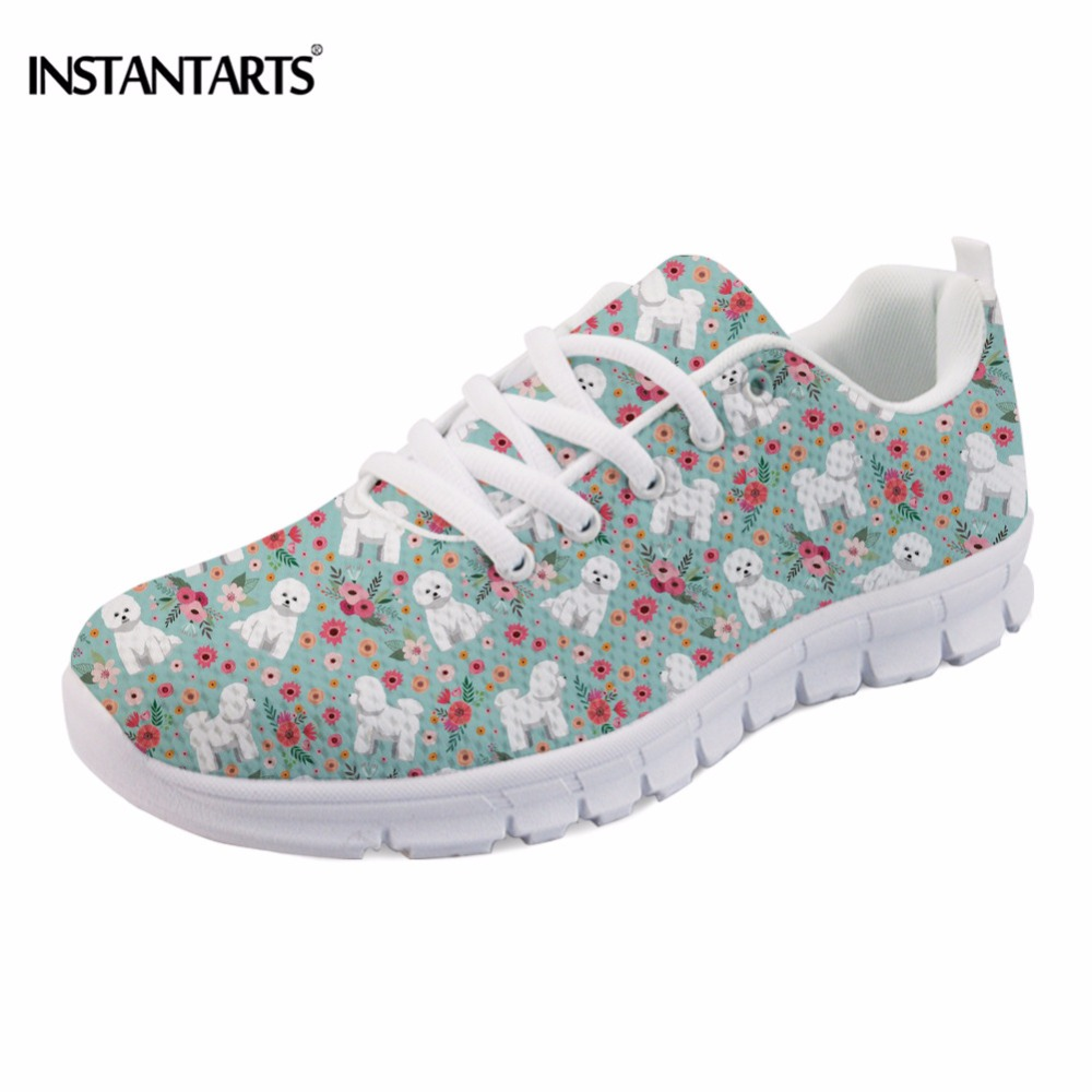 INSTANTARTS Cute Women Flats Shoes Animal Bichon Frise Flower Printed Casual Women's Sneakers Lightweight Mesh Shoes Female Girl instantarts casual women summer flat shoes cute dog alaskan malamute flower print female air mesh shoes fashion slip on sneakers