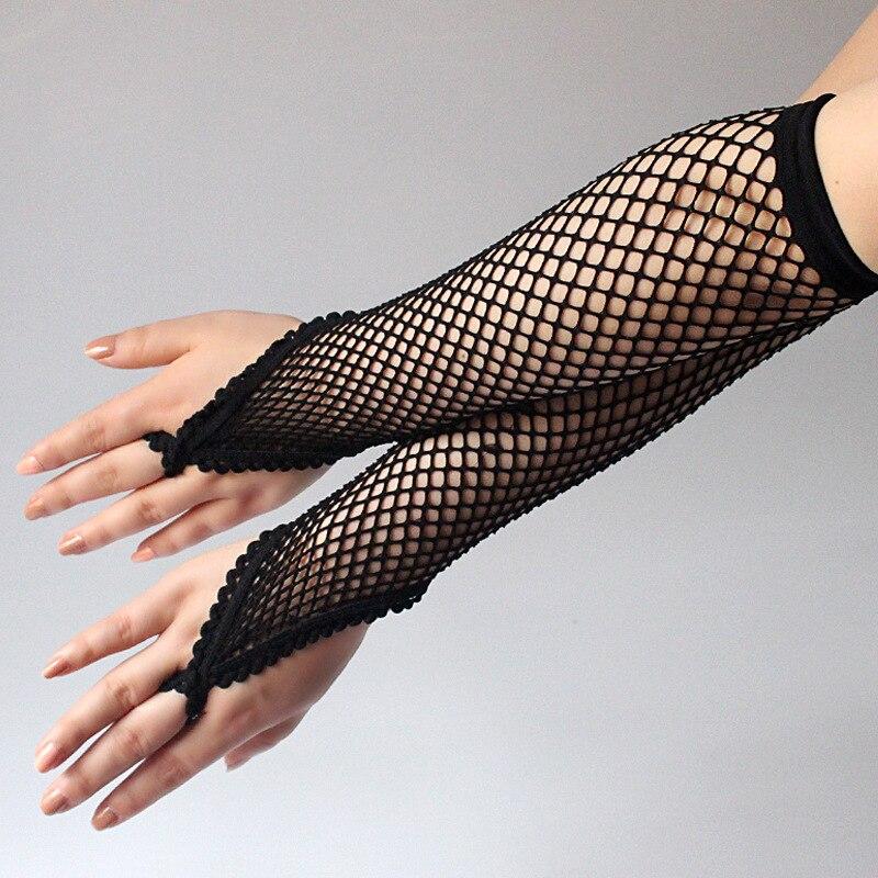 1 Pair Long Women's Fingerless Fishnet Elbow Gloves Elastic Nylon Gloves Black White Red Sexy Opera Evening Party Prom Gloves