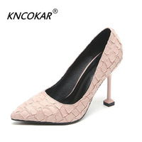 KNCOKAR Four Seasons New Sexy Fashion High Heel Pointed Cat Heel Single Shoe Big Size Professional Women's Shoes 40 43