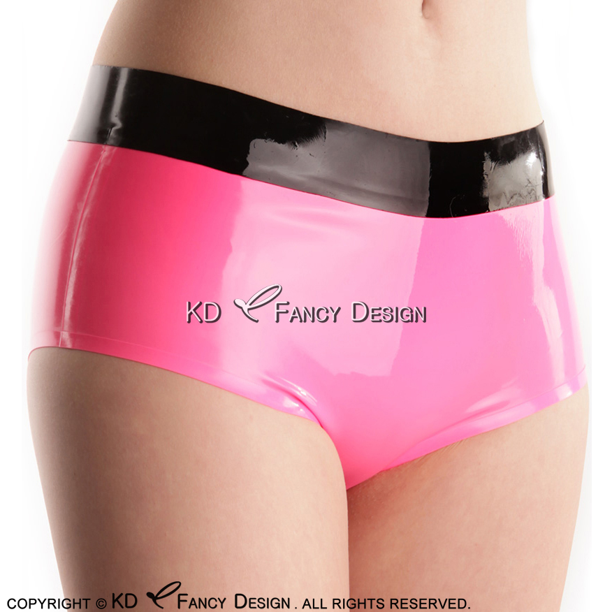 Metallic Pink With Black Sexy Latex Briefs With Trims On Top Rubber Boyshorts Underwears Panties Underpants