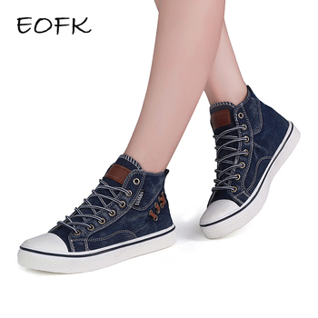 EOFK 2018 New Fashion Women High Top Canvas sneakers Shoes Women's Denim Ankle Lace Up Ladies  Ankle Canvas Shoes Woman
