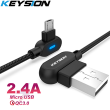 KEYSION L-Type Micro USB Cable for Xiaomi Redmi Note 5 Pro 4 Reversible Charger Data Samsung M30 M20 A10 S7