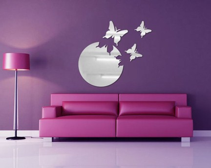 Free Shipping Sofa Background Wall Tv Wall Mirror Wall Stickers Mirror Wall Covering Butterflies