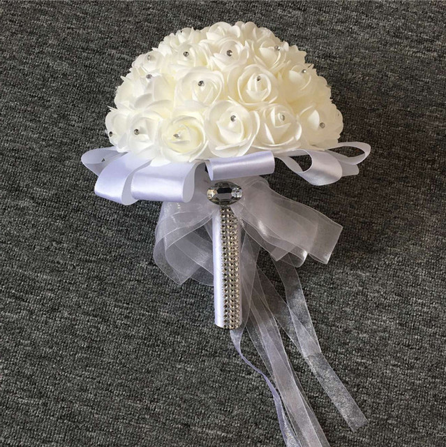 Lastest Ivory and White Wedding Bouquets HandMade Rose Flowers Bridesmaid Hand Holding Flower Wedding Accessories
