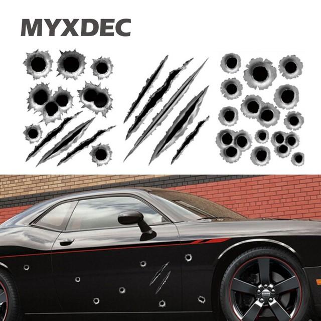 23*29cm Funny Car Sticker 3D Bullet Hole