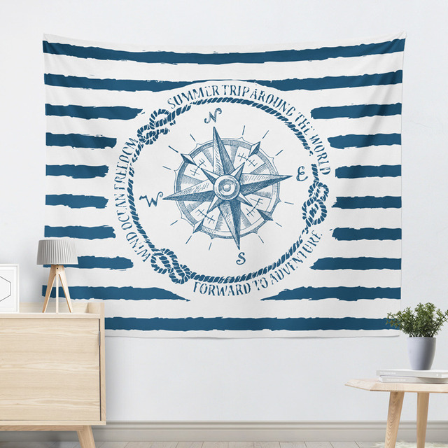 Marine Style Striped Wall Tapestry 4