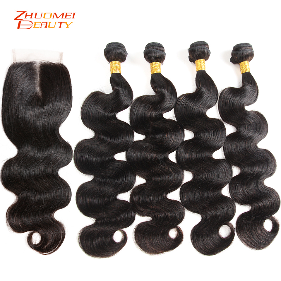 Malaysian Body Wave 4 Bundles With Closure 4 4 Lace Closure With Bundles Remy Human Hair