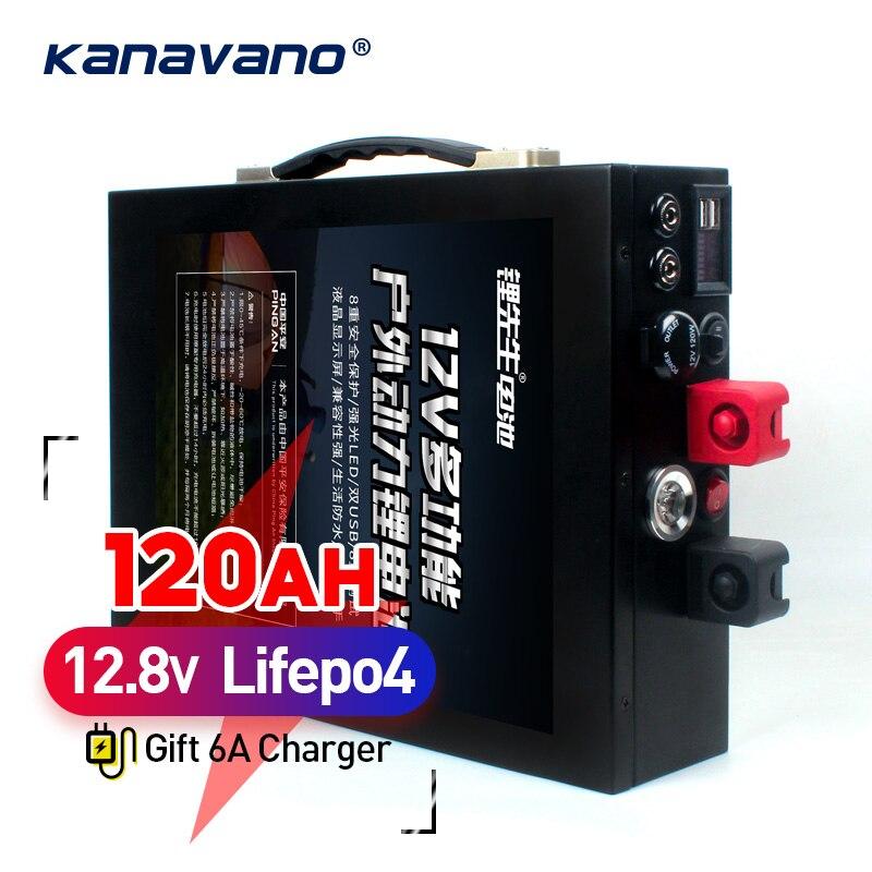 12V 120AH LiFePo4 batería de gran capacidad de fosfato de hierro de litio Paquete de batería con carcasa metálica iluminación LED encendedor de cigarrillos