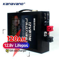 12V 120AH LiFePo4 battery large capacity lithium iron phosphate battery pack with metal casing LED lighting cigarette lighter
