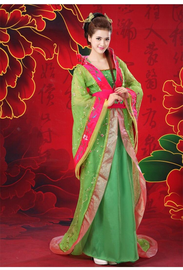 Ijverig 2016 Hot! Nieuwe Groene Chinese Traditionele Vrouwen Oude Infanta Prinses Kostuum Kant Trail Gewaad Jurk Kleding Gratis Verzending Lage Prijs