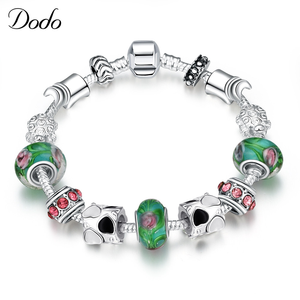 Energetic Girl Silver Plated For Women Bracelet Hit Color Bead Crystal New Handmade Awareness Green & Red Ribbon Bangle Gift P18