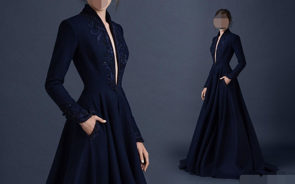 Navy Blue Satin Evening Dresses Embroidery Custom Made robe de soiree Beaded Formal Party Gown Plunging V Neck evening dress