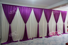 New Fashion 10ft*20ft wedding stage curtain purple Wedding Backdrop with Beatiful Purple Swag Wedding drape and curtain